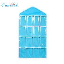 Ouneed organizer 16Pockets Clear Hanging Bag Socks Bra Underwear Rack Hanger Storage Holder quality first DROP SHIP(China)