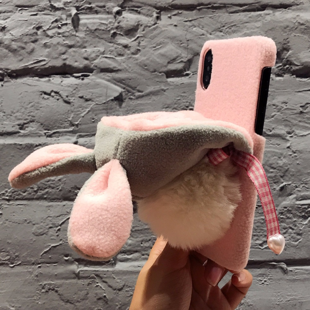 2DOEES Luxury Warm Cute Case For iPhone 7 7 Plus 6 6S Plus X Phone Cases Plastic Winter Furry Rabbit Hat Cover For iPhone X Coque (9)