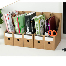 Creative 5Pcs Hard Paper File Table Storage Box Kraft Paper Office Study Desktop Organizer Crate Set for Books Documents Folder(China)
