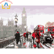Digital Diy oil painting by numbers landscape wall decor picture on canvas oil paint coloring by number drawing bus street E598(China)