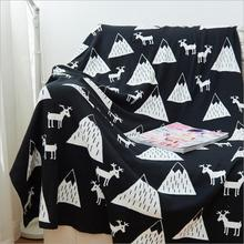 Side Knitted Cotton Blanket Baby Blanket Black White Cute Knitted Plaid For Bed Sofa Cobertores Mantas BedSpread Towels Play Mat
