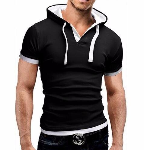 HTB1FDRHLVXXXXahXVXXq6xXFXXXn - Men'S T Shirt 2017 Summer Fashion Hooded Sling Short-Sleeved Tees Male Camisa Masculina T-Shirt Slim Male Tops 4XL