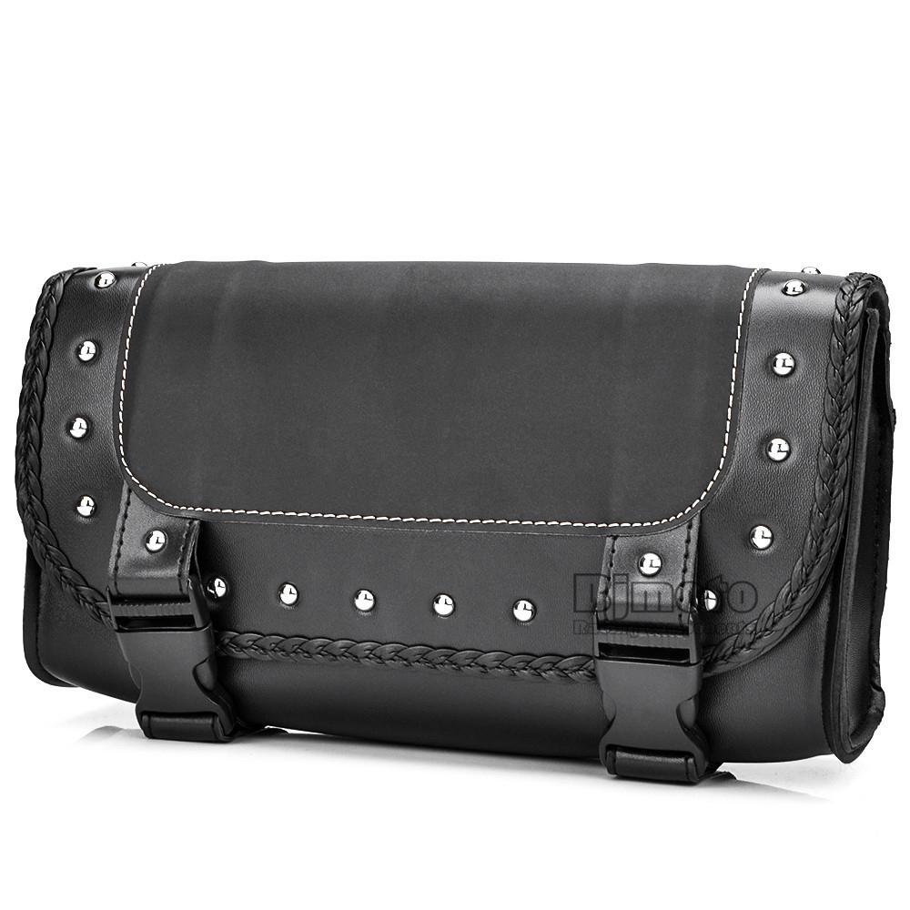 Black Motorcycle Saddlebag Bag PU Leather Luggage Saddle Bags For Harley Sportster Pannier Side Saddle Bag (6)