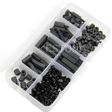 A96 160Pcs M3 Nylon Black M-F Hex Spacers Screw Nut Assortment Kit Stand off Set Box
