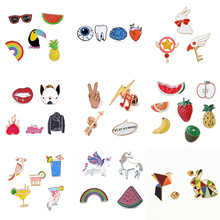 Brooch Set bird Rainbow Fruit Cat Unicorn Cute Cartoon Brooch Decoration Backpack Clothes Hat Badge Collar Pin Brooch Gifts