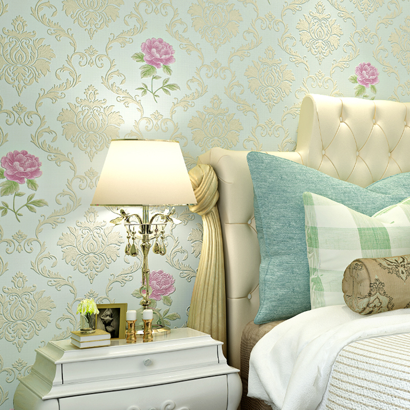 3D Pastoral Damascus Floral Wallpaper Non-woven Moisture-proof Breathable Wallpaper For Bedroom Living Room TV Background Wall<br>