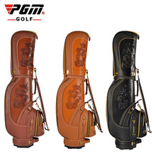 PGM Professional Golf Standard Bag Ball Clubs Package Rex Rabbit Fur Men Leather Waterproof Golf Cart Bag With Cover Caddy Bag(China)