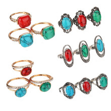 24pcs/lot Mixed Design Boho Vintage Look Tibetan Rings Antique Silver Plated Crystal Green Blue Red Oval Planet Lines Stone Ring