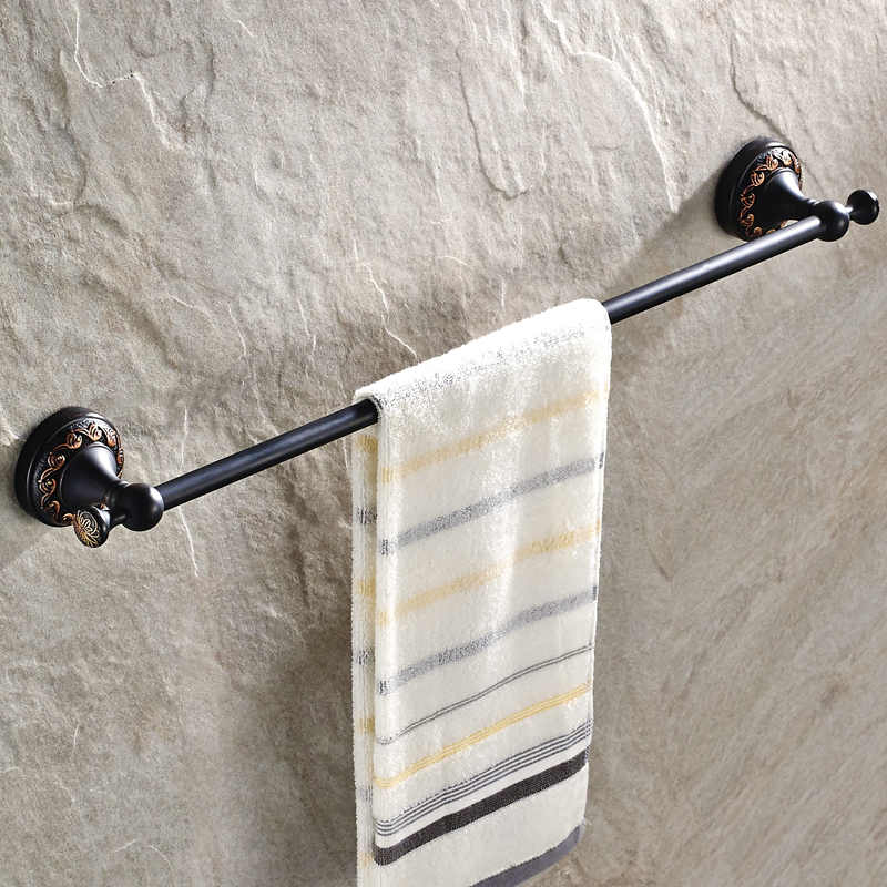 Antique Black Towel Bar Bronze Brass Towel Rack Anspicious Copper Carved Towel Holder Bathroom Accessories<br>