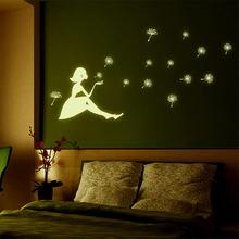 Creative Figures Posters Arts Fluorescence Sticker DIY Luminous Wall Stickers Dandelion Girl Paster Bedroom Home Decor Art Decal