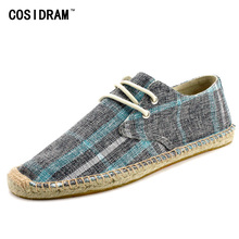 COSIDRAM New 2017 Fisherman Shoes Canvas AAA Men Casual Shoes Male Driving Breathable Lace-Up Flats Men Espadrille RMC-844(China)