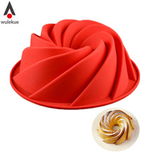 Wulekue Silicone Screw Shape Baking Cake Mold Pan For Savarin Kouglof Chiffon Angel Food Cake(China)