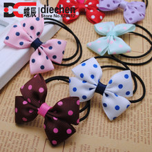 "2pieces/lot  2 1/2"" sweety polka dot grosgrain ribbon baby girls bows hair elastics rubber bands children ponytail holder"
