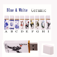 USB Flash Drives 128GB Blue and white porcelain Retro China usb flash drive ceramic Horse 4G 8G 16G 32G 64GB pen drive usb stick(China)