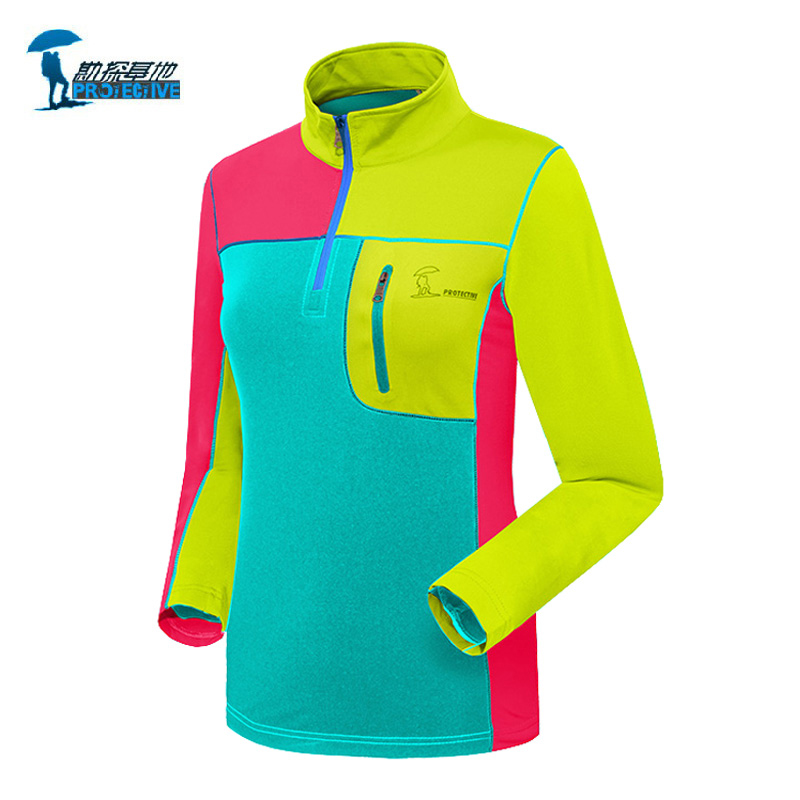 Protective Brand 2016 Patchwork Long Sleeve Quick Dry Shirts Women Outdoor Sports Breathable Coolmax Womens Hiking T shirt<br><br>Aliexpress