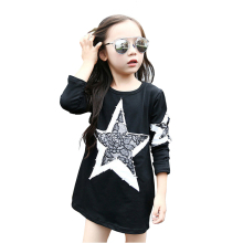 Tribros 2017 Girls Children's Big Star Partchwork Clothes Spring Autumn Style Infant Kids Costume Baby Next Party Mini Dresses