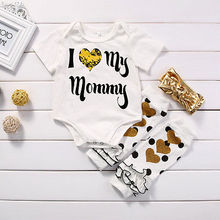 Hot Baby Girl Letter Bodysuit Cute Kids White Top Toddler Gold Headband Clothing Set Baby Heart Print Leg Warmer 3PCS Outfits