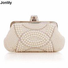 2018 Bags New Pearl Diamond Evening Clutch Bags Chains White Bag Women  Pearl Clutch Party Purses Gorgeous Bridal Wedding LI-1459 c87e4f542bb3