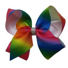 "100pcs DHL Free shipping Rainbow ombre gradual color change Twisted Hair bow 5"" Grosgrain Ribbon Bow"