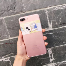 Cartoon Book Cat Pattern Case Cover For iphone 7 7 plus 6 6s Plus Slim Transparent Soft TPU Cell Phone Cases +Dust plug  C63