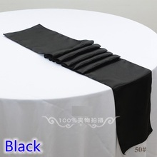 Black colour wedding table runner decoration satin table runner for modern party home hotel banquet decoration wholesale(China)