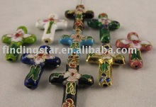 FREE SHIPPING 300PCS Mixed colour cloisonne cross beads 27x19mm M458