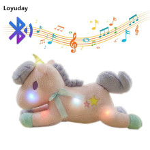 New Luminous Led Smart Bluetooth Music Unicorn Plush Toy Soft Flashing Stuffed Animal Unicornio Doll Children Kids Gift(China)