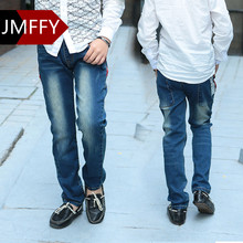 Jeans Boys Kids Denim Pants Boys Autumn Blue Trousers 2017 Children's Clothes Size 2T~15T Elastic Waist Kids Jeans Boy Pockets(China)