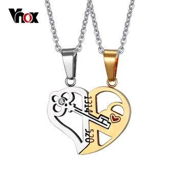 Vnox chave & lock colar pingente 1314520 par amante da jóia do casamento 2 pçs/sets