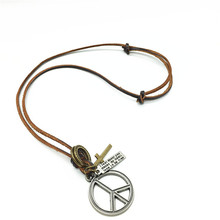 Trendy Casual Long Brown Genuine Leather Bronze Alloy Hoops Cross Peace Logo Pendant Women Men Necklace Male Wholesale Jewelry