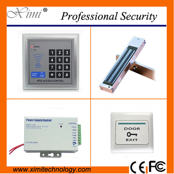 Cheap price good quality with 180kg/280kg electromagnetic lock,exit button, DV 12V 3A power supply and F004 card access control<br>