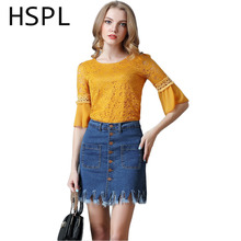 HSPL Pencil Skirt 2017 Summer Mini Shealth Tight Skirts Women Fashion Jeans Adult Blue Short Skirt With Tassel High Waist Saia