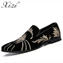 XIZI brand Men's embroidery formal Shoes Male Casual Pointed Toe Flat shoe Men fashion Black leather Driving Flats dress shoes(China)