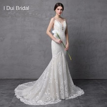 Spaghetti Strap Mermaid Lace Wedding Dresses Luxury High Quality Low Cleavage Sexy Low Back Bridal Gown(China)