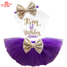 Newborn Baby Girl Clothing Sets My Little Girl 1st Birthday Outfits Baby Romper+Skirt+Headband Infant Party Costume Kids Clothes(China)