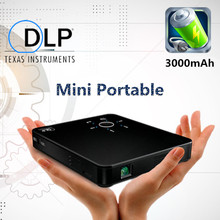 2016 mini portable HD DLP Projector 300 lumens 3000mah battery LED lamp HDMI USB MHL SD free tripod and cable Video film game