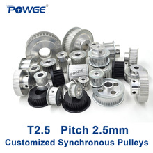 POWGE Metric Trapezoid T2.5 Synchronous Pulley Pitch 2.5mm Gear wheel Manufacture Customizing all kinds of T2.5 Timing pulley(China)