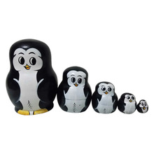 5pcs Collectable Beautiful Penguin Russian Doll Sets Wooden Toy Gift Wishing Dolls Handmade Sale High Quality(China)