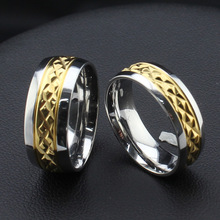 Tassina Couple rings for lovers Stainless steel couple wedding ring gold color cutting flower jewelry provide mix TACR-007G(China)