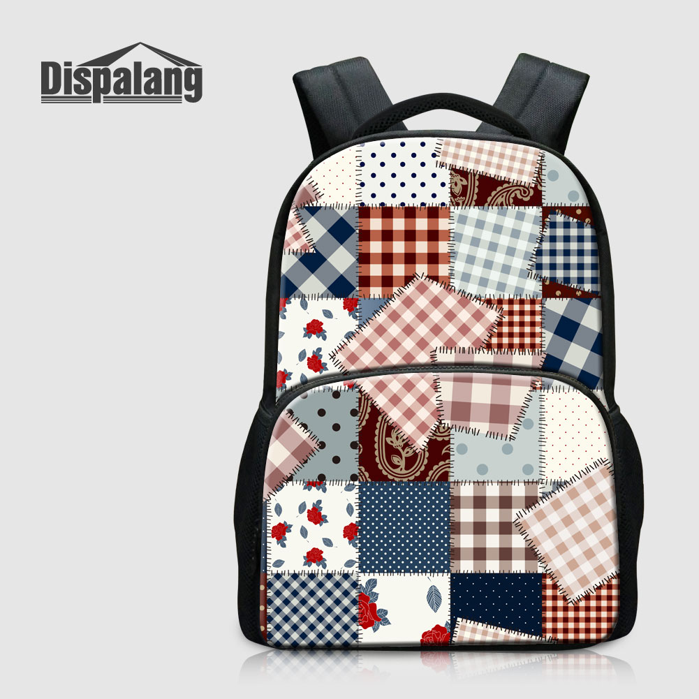 Dispalang Unique Plaid Pattern Canvas School Backpacks For Students Womens Outdoors Rucksack Laptop Bags Female Bookbags Rugtas<br>