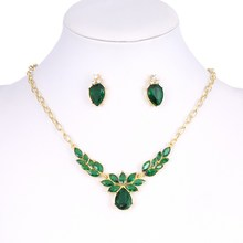 ZOSHI Trendy Free Shipping Wedding Jewelry Sets Necklace Earrings Women Flower Necklace Stud Earring Green CZ Crystal Jewelry