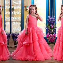 Charming One Shoulder Tiered Organza Beading Flower Girl Dress For Weddings Sleeveless