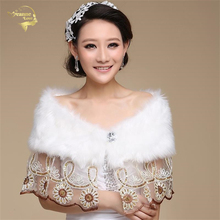 Lace  Wedding Bolero Outerwear Wedding Accessories Urged Wrap Bride Formal Winter Cape Bride Fur Shawl Wedding Jackets OJ00186