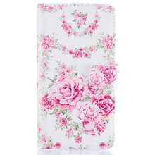 Fashion Elegant Pink Rose Flower Wallet Flip cover For SamSung Galaxy A310 PU Leather Stand Handbag with card slot phone case B