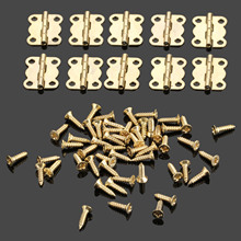 50Pcs 16*13mm Gold Cabinet Hinges Furniture Accessories Jewelry Boxes Small Hinge Furniture Fittings For Cupboard With Screws