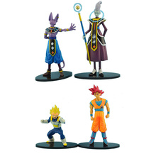 4pcs/set 6-15cm Dragon Ball Z Battle of Gods bataille Goku Whis Beerus Vegeta Action Figures Cartoon Toy doll