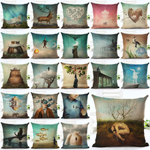 2016  New Arrive Hot Selling Classical Printing Linen Cotton Cushion Cover Throw Pillow Sofa Pillow Cojines