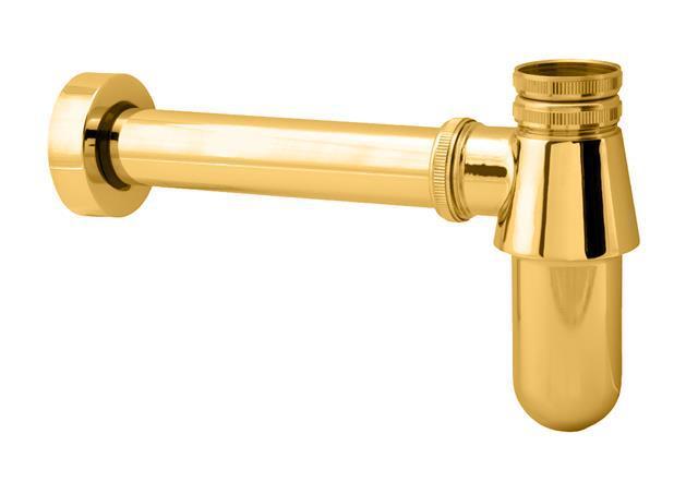 Gold Brass  Basin Bottle Trap , P-Trap,Waste Drain, Basin Mixer Waste Pipe Bottle Waste Trap Drain Kit - P TRAP<br>