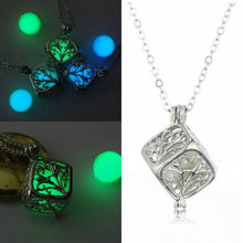 Personality Jewelry Beauty Charmful Hollow Tree of Life Luminous Rubik Cube Pendant Light Box Necklace Disco Statement Necklace(China)
