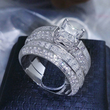 New Arrival 2 Pcs Princess Cut    Wedding Ring Set Christmas Gift Jewelry Us 6-9 Fashion Leader' Choice